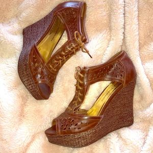 Angel Ribbons brown platform lace up wedge